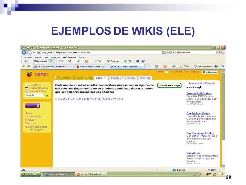 EJEMPLOS DE WIKIS (ELE)