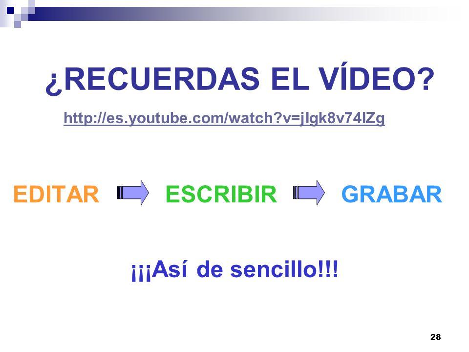 ¿RECUERDAS EL VÍDEO EDITAR ESCRIBIR GRABAR ¡¡¡Así de sencillo!!!
