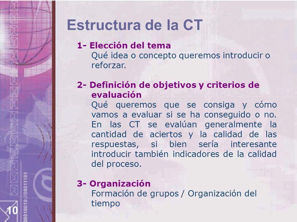 Estructura de la CT 1- Elección del tema