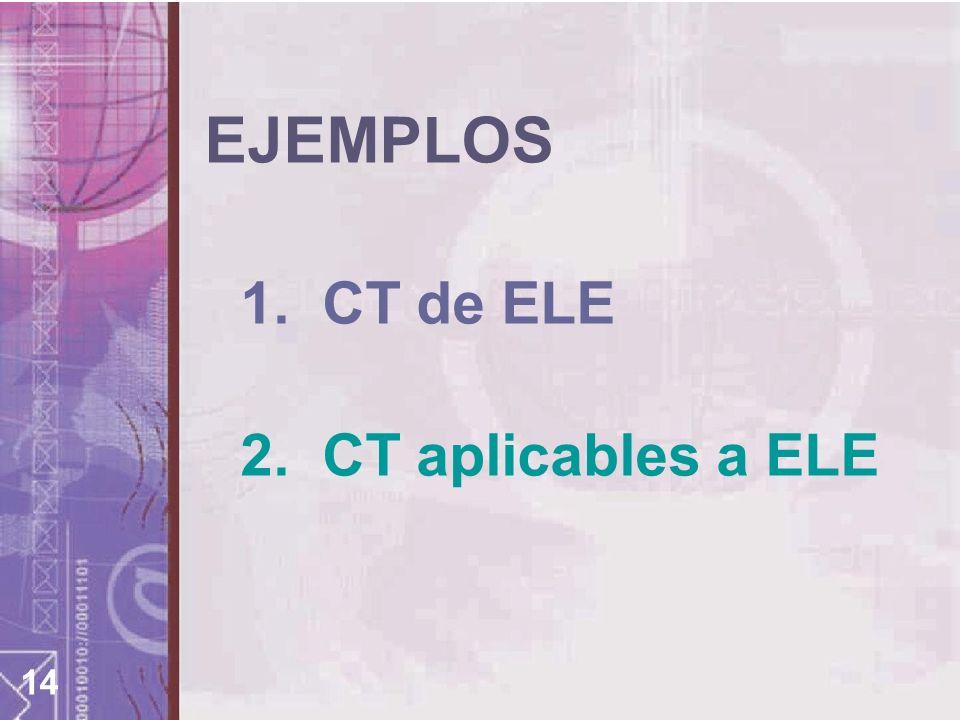 EJEMPLOS 1. CT de ELE 2. CT aplicables a ELE