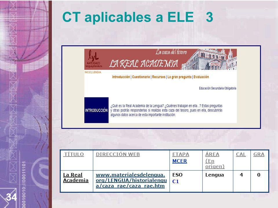 CT aplicables a ELE 3 TÍTULO DIRECCIÓN WEB ETAPA MCER ÁREA (En origen)