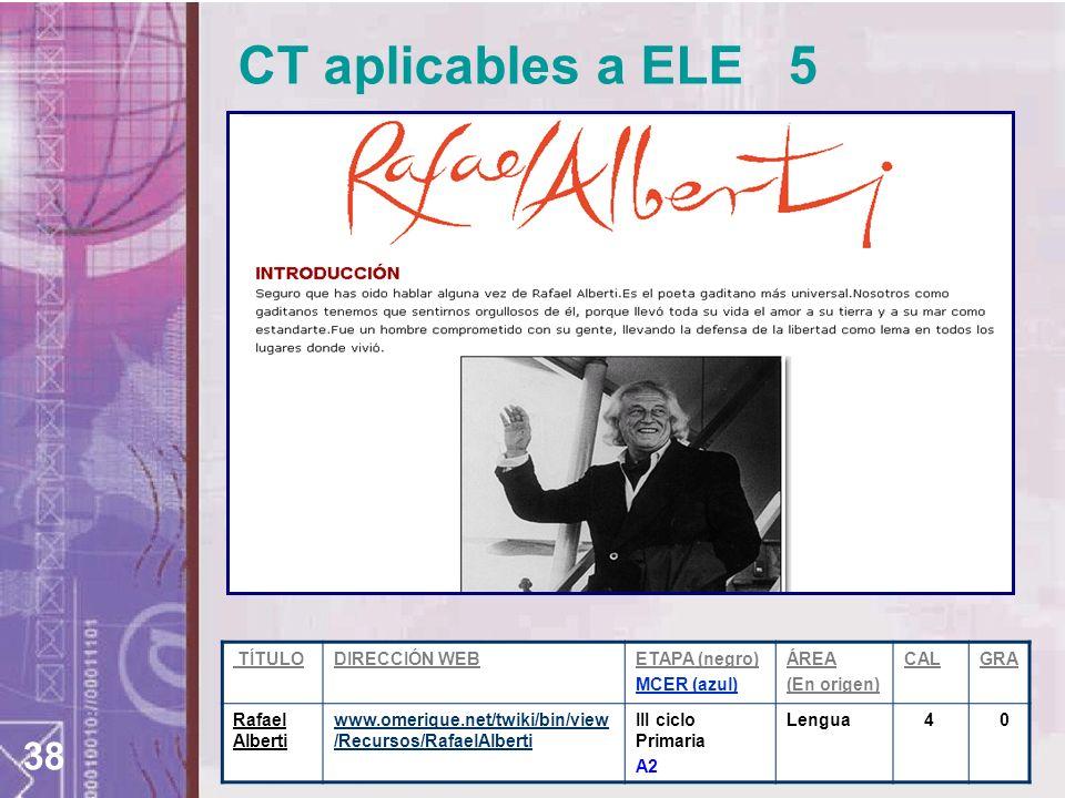 CT aplicables a ELE 5 TÍTULO DIRECCIÓN WEB ETAPA (negro) MCER (azul)