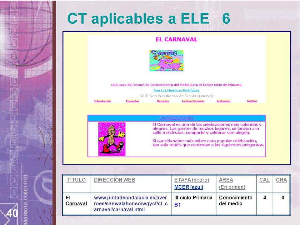 CT aplicables a ELE 6 TÍTULO DIRECCIÓN WEB ETAPA (negro) MCER (azul)
