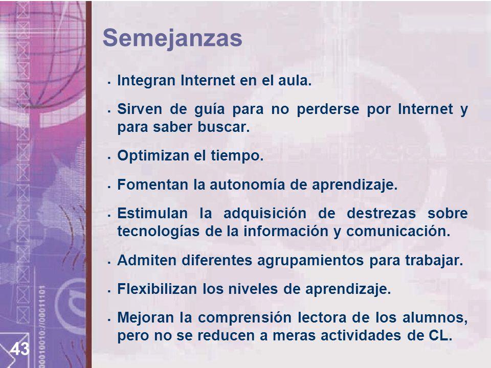 Semejanzas Integran Internet en el aula.