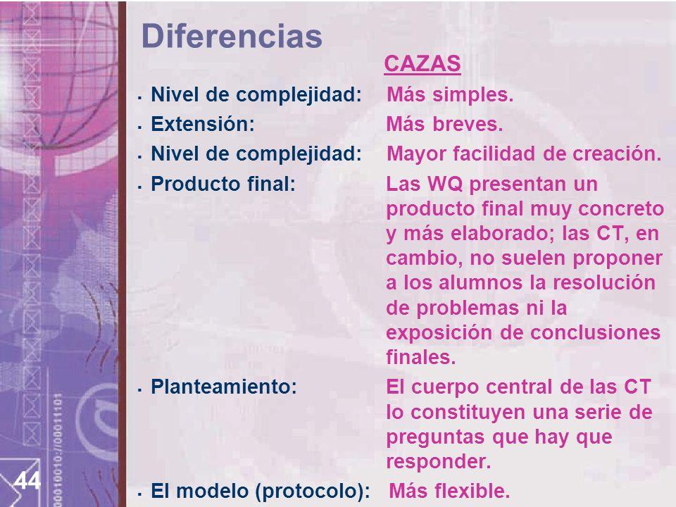 Diferencias CAZAS Nivel de complejidad: Más simples.