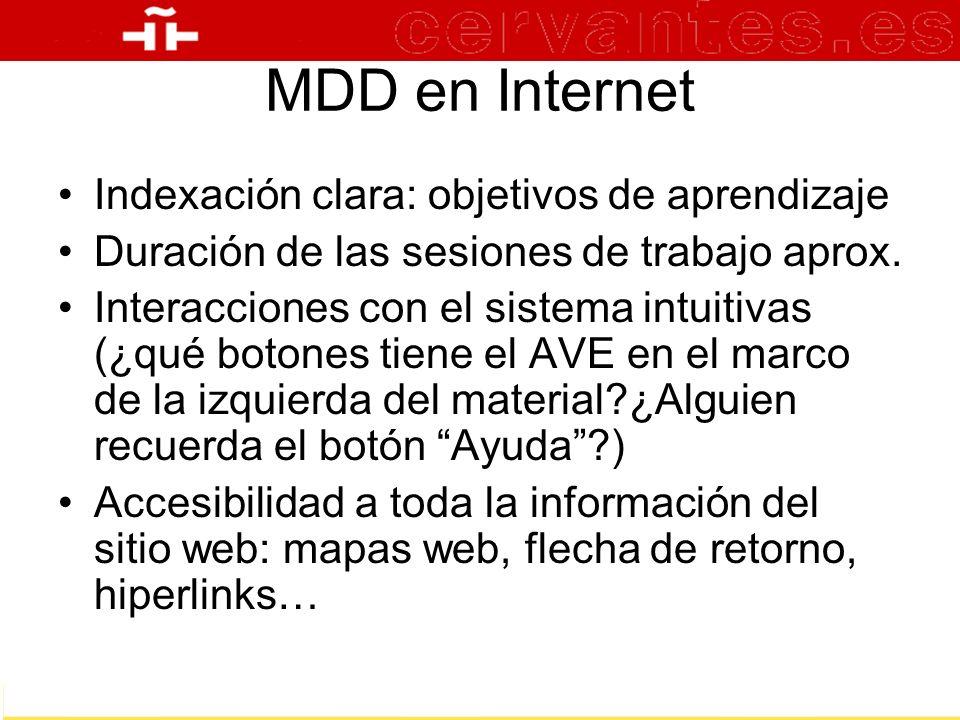 MDD en Internet Indexación clara: objetivos de aprendizaje