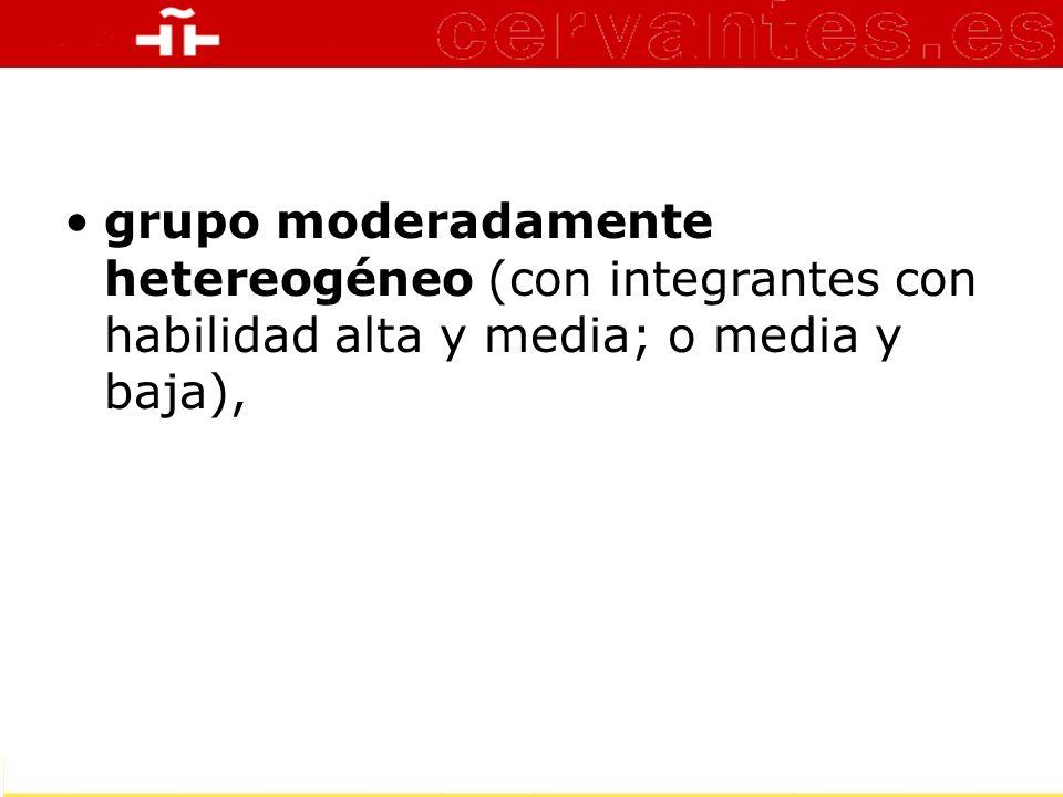 grupo moderadamente hetereogéneo (con integrantes con habilidad alta y media; o media y baja),