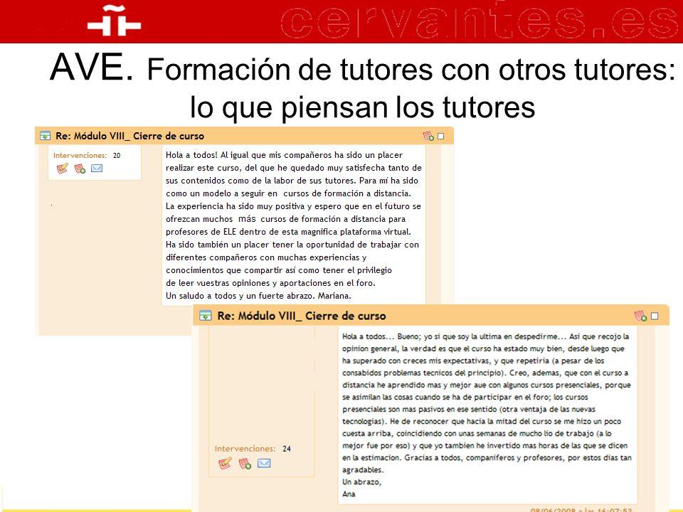 AVE. Formación de tutores con otros tutores: lo que piensan los tutores