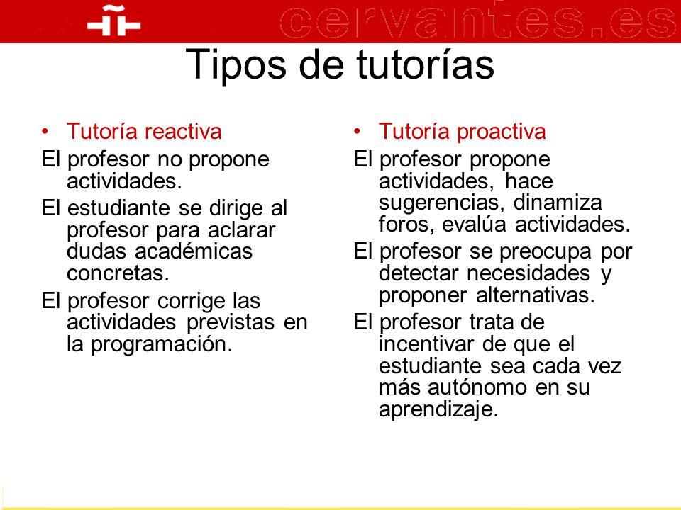Tipos de tutorías Tutoría reactiva El profesor no propone actividades.