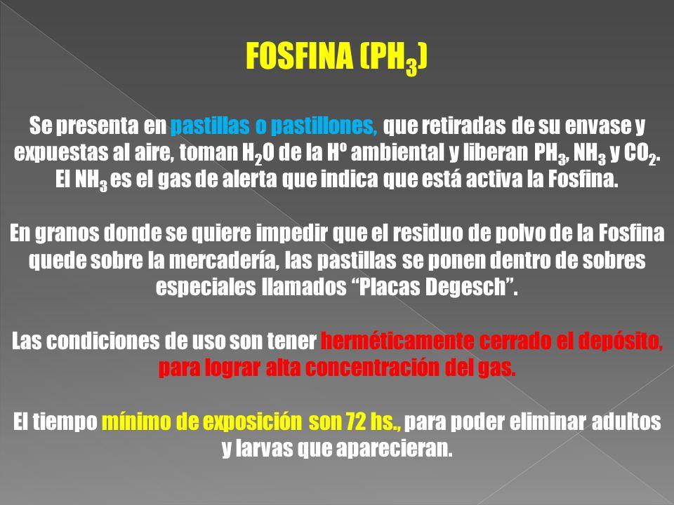 El NH3 es el gas de alerta que indica que está activa la Fosfina.