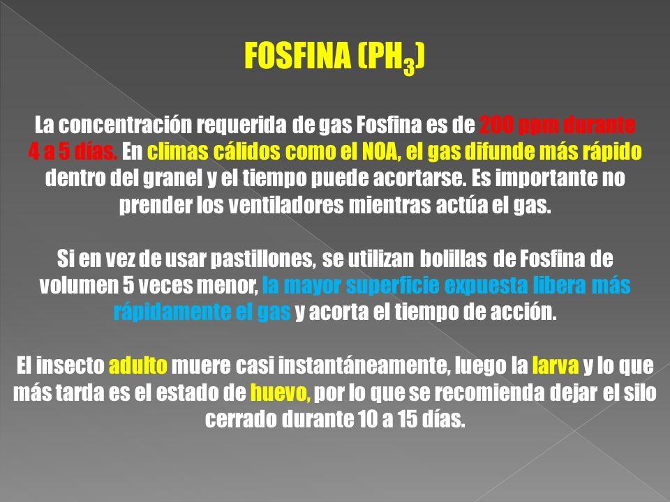 FOSFINA (PH3) La concentración requerida de gas Fosfina es de 200 ppm durante.