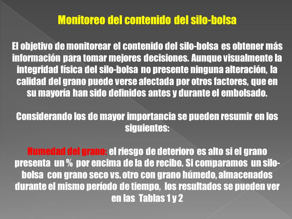 Monitoreo del contenido del silo-bolsa