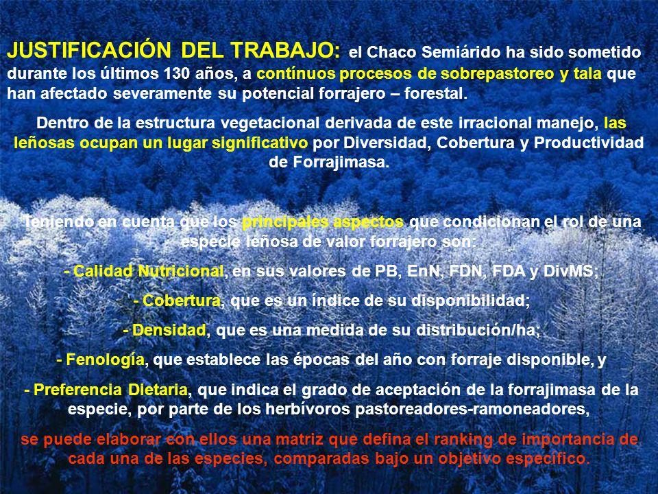 JUSTIFICACIÓN DEL TRABAJO: el Chaco Semiárido ha sido sometido durante los últimos 130 años, a contínuos procesos de sobrepastoreo y tala que han afectado severamente su potencial forrajero – forestal.