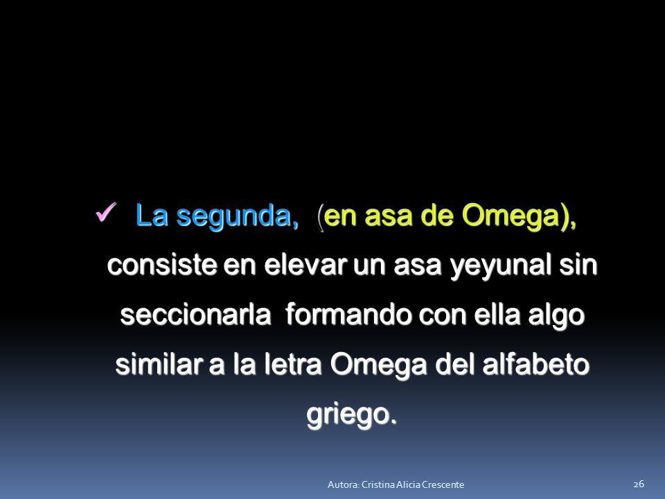 La segunda, (en asa de Omega), consiste en elevar un asa yeyunal sin seccionarla formando con ella algo similar a la letra Omega del alfabeto griego.