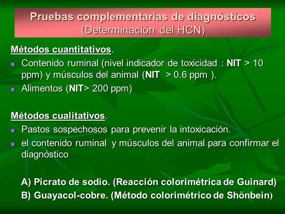Pruebas complementarias de diagnósticos (Determinación del HCN)