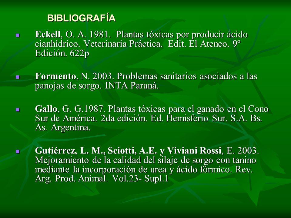 BIBLIOGRAFÍA Eckell, O. A. 1981. Plantas tóxicas por producir ácido cianhídrico. Veterinaria Práctica. Edit. El Ateneo. 9º Edición. 622p.