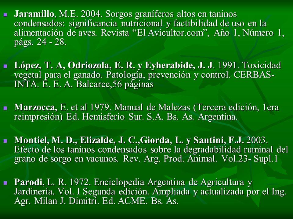 Jaramillo, M.E. 2004. Sorgos graníferos altos en taninos condensados: significancia nutricional y factibilidad de uso en la alimentación de aves. Revista El Avicultor.com , Año 1, Número 1, págs. 24 - 28.