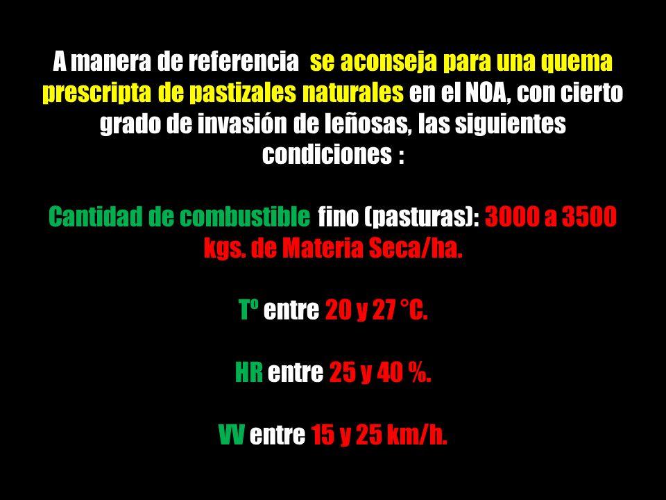 A manera de referencia se aconseja para una quema prescripta de pastizales naturales en el NOA, con cierto grado de invasión de leñosas, las siguientes condiciones :