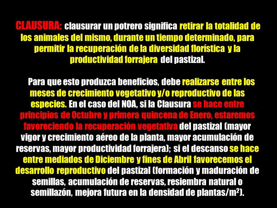 CLAUSURA: clausurar un potrero significa retirar la totalidad de los animales del mismo, durante un tiempo determinado, para permitir la recuperación de la diversidad florística y la productividad forrajera del pastizal.