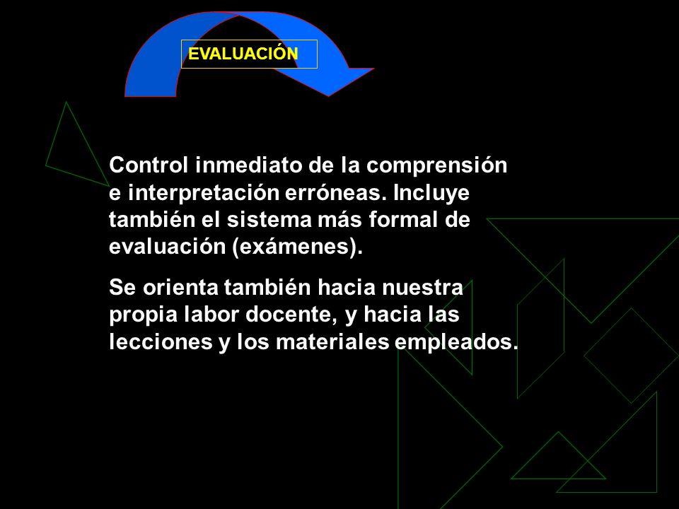 EVALUACIÓNControl inmediato de la comprensión e interpretación erróneas. Incluye también el sistema más formal de evaluación (exámenes).