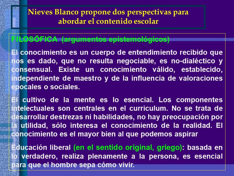 Nieves Blanco propone dos perspectivas para abordar el contenido escolar