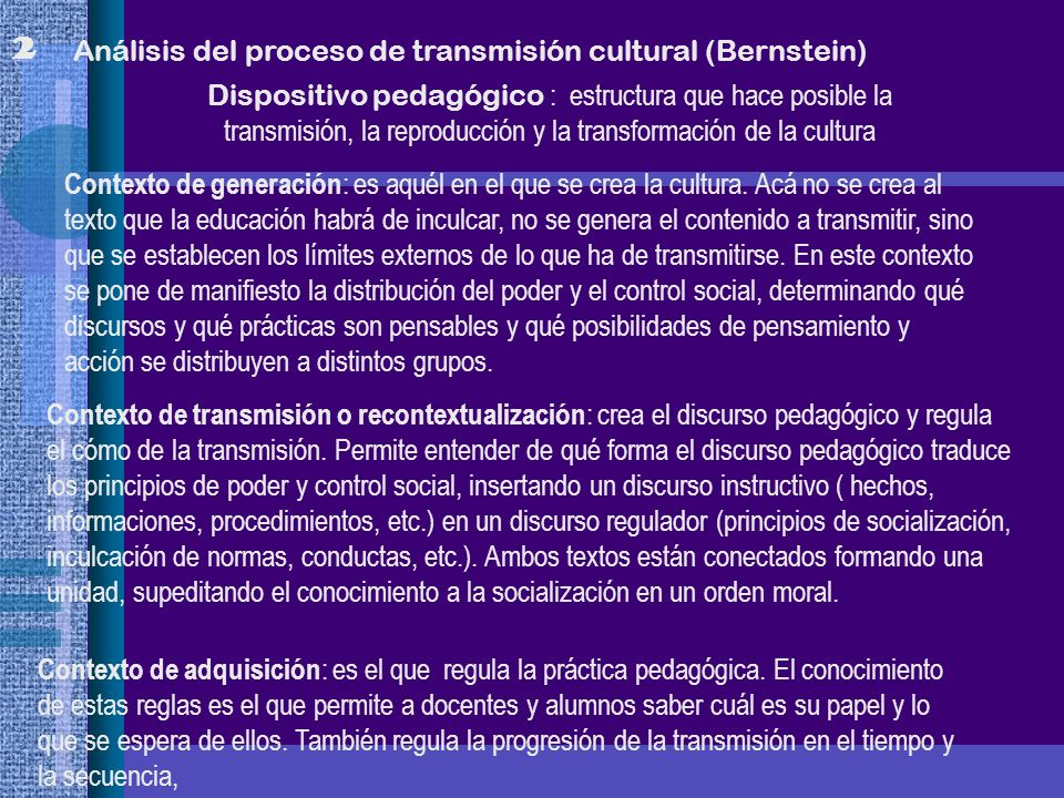 2 Análisis del proceso de transmisión cultural (Bernstein)