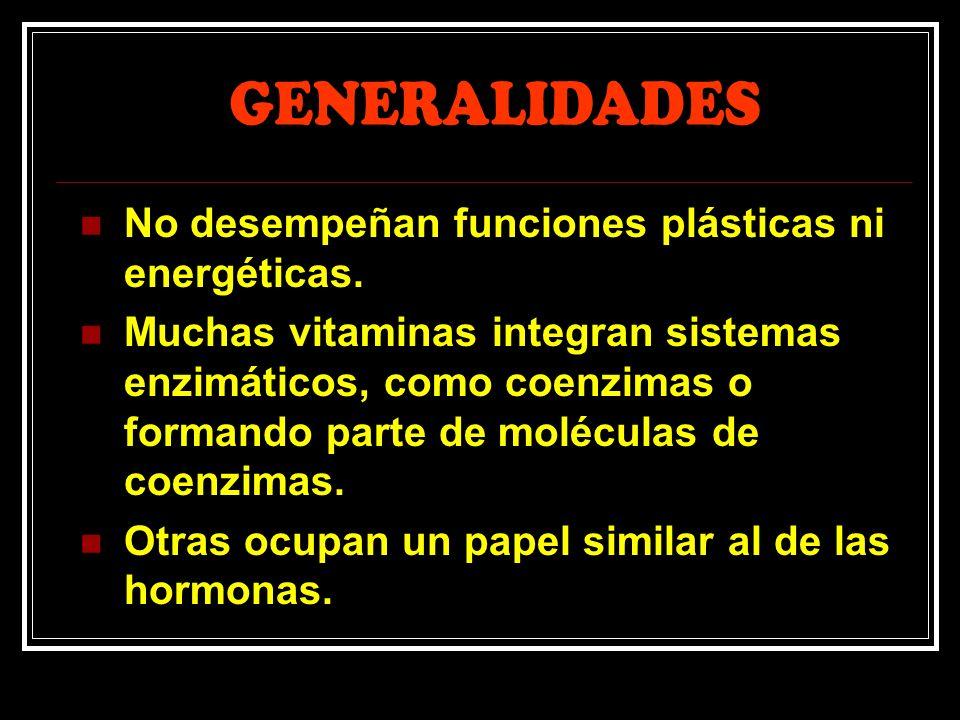 GENERALIDADES No desempeñan funciones plásticas ni energéticas.