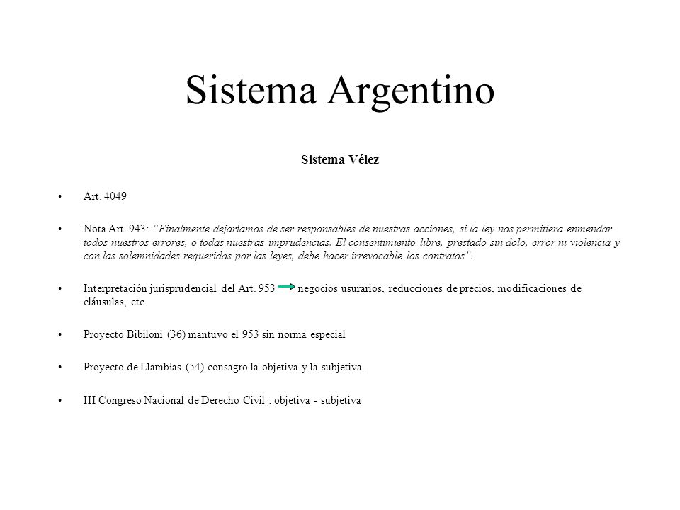 Sistema Argentino Sistema Vélez Art. 4049