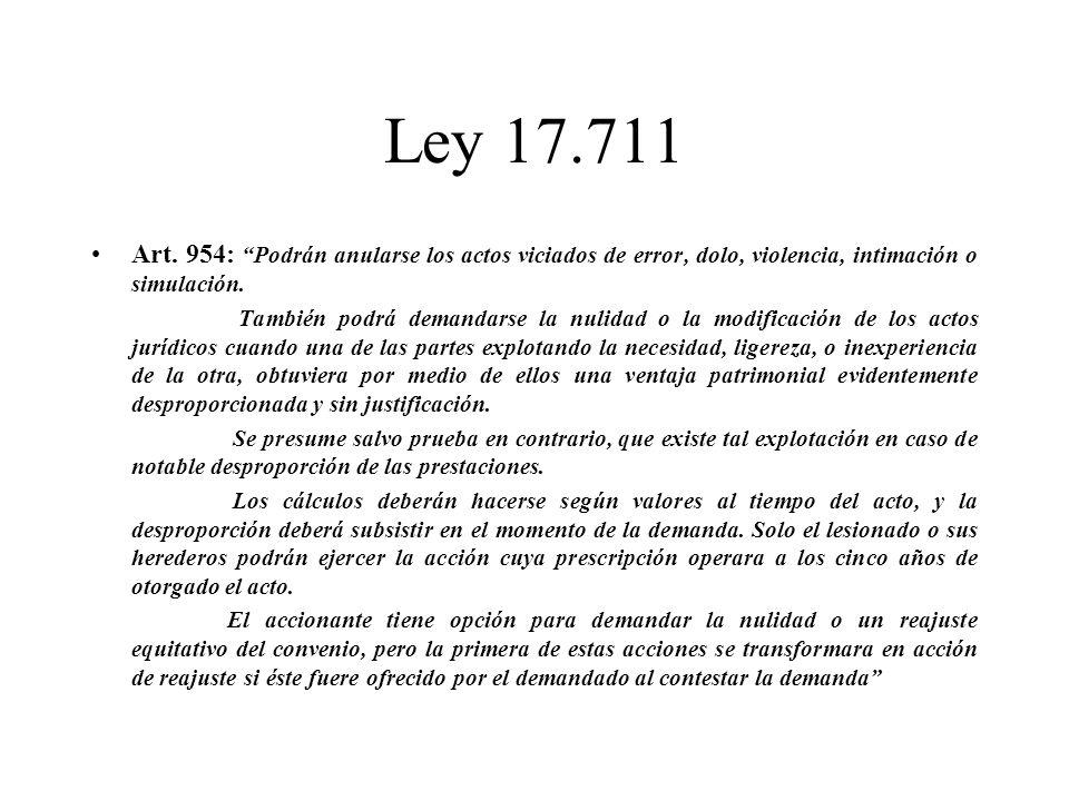 Ley 17.711 Art. 954: Podrán anularse los actos viciados de error, dolo, violencia, intimación o simulación.