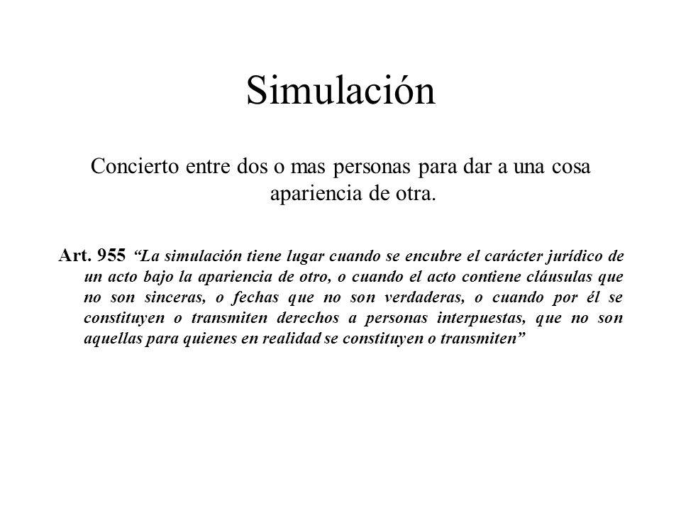Simulación Concierto entre dos o mas personas para dar a una cosa apariencia de otra.