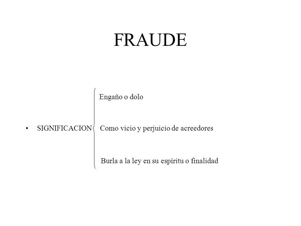 FRAUDE Engaño o dolo. SIGNIFICACION Como vicio y perjuicio de acreedores.