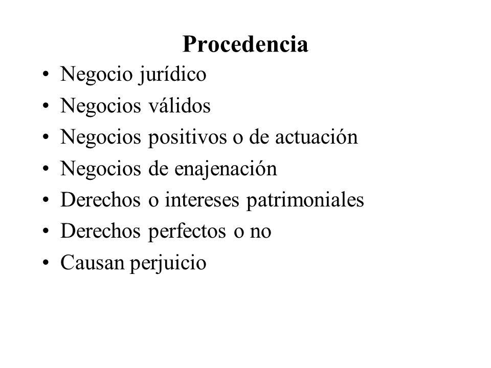 Procedencia Negocio jurídico Negocios válidos