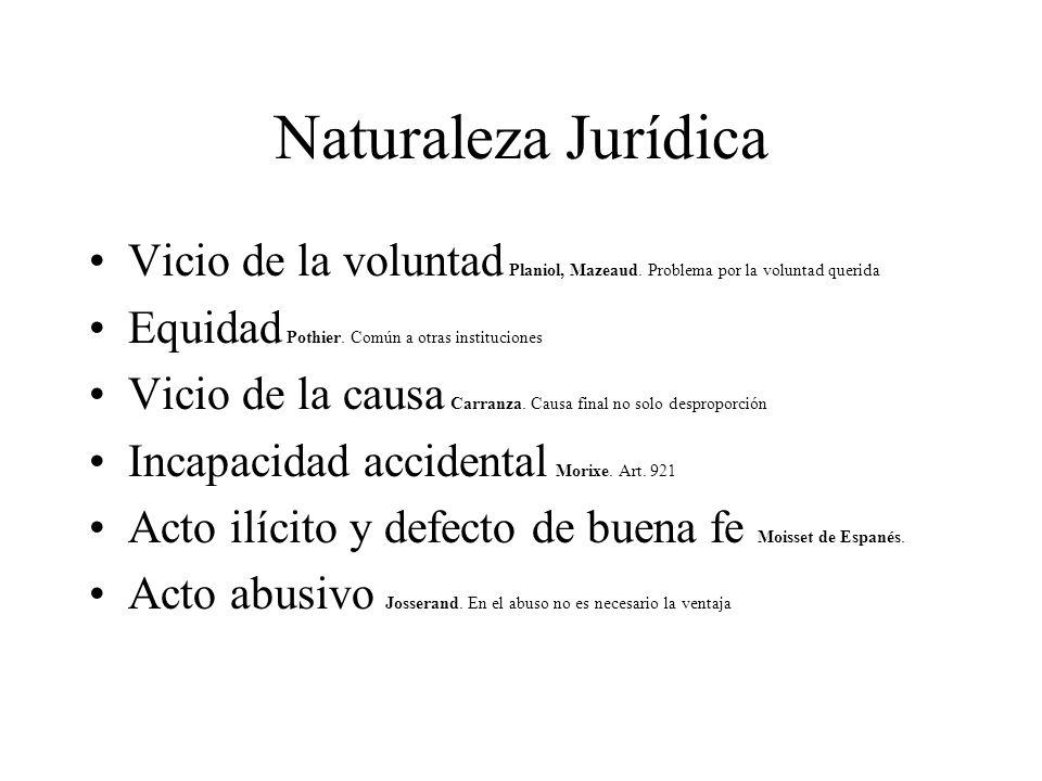 Naturaleza Jurídica Vicio de la voluntad Planiol, Mazeaud. Problema por la voluntad querida. Equidad Pothier. Común a otras instituciones.