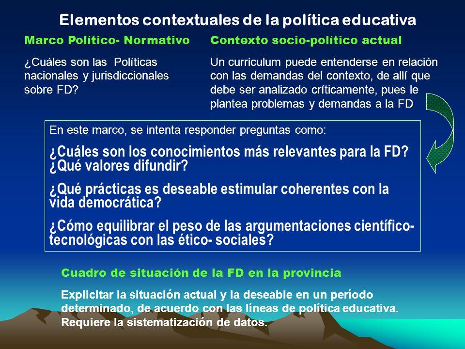 Elementos contextuales de la política educativa