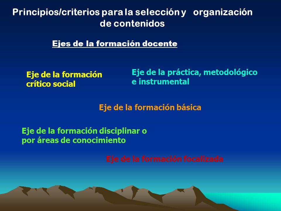 Principios/criterios para la selección y organización de contenidos