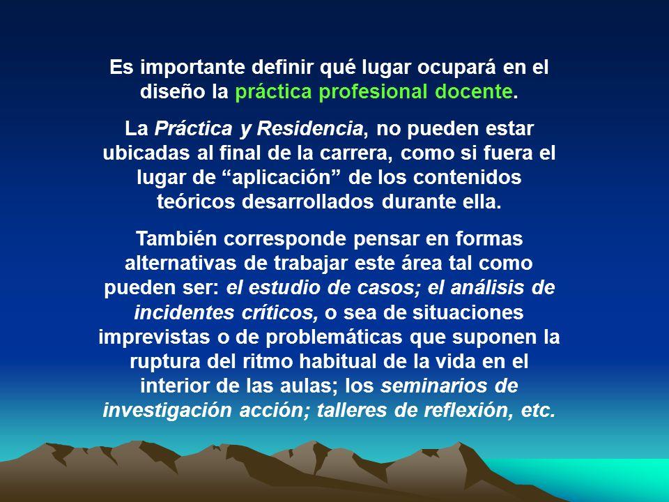 Es importante definir qué lugar ocupará en el diseño la práctica profesional docente.