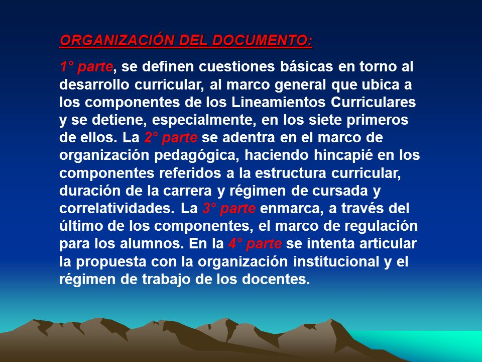 ORGANIZACIÓN DEL DOCUMENTO: