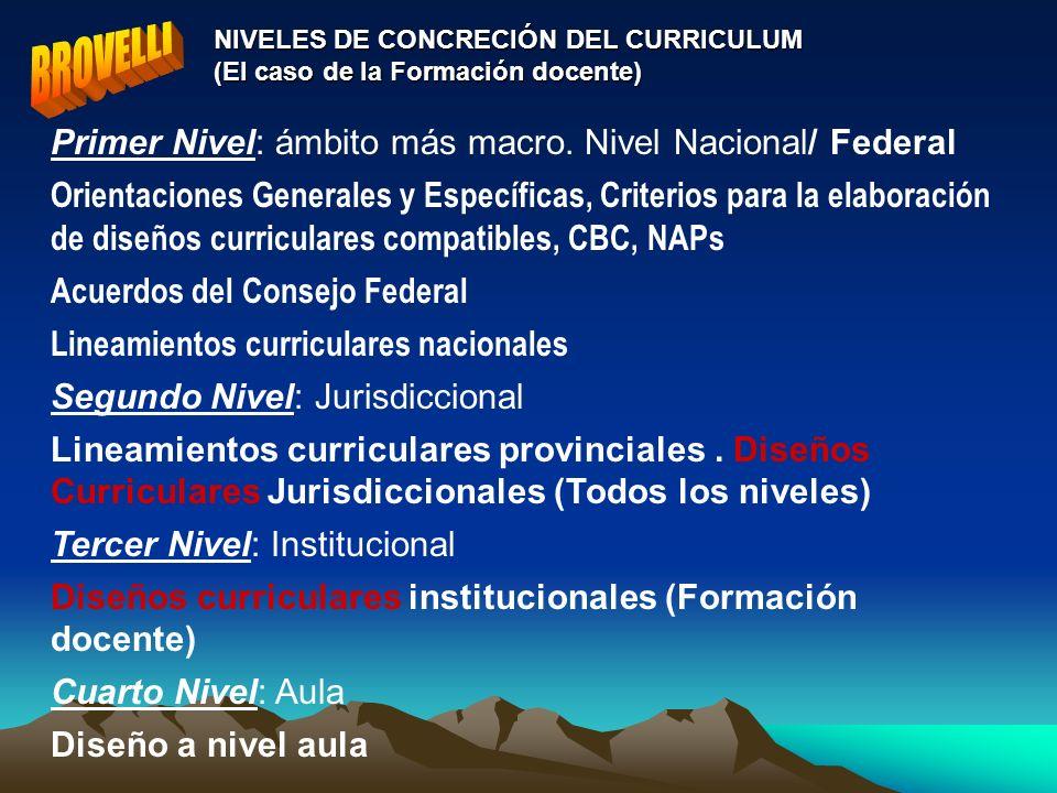 BROVELLI Primer Nivel: ámbito más macro. Nivel Nacional/ Federal