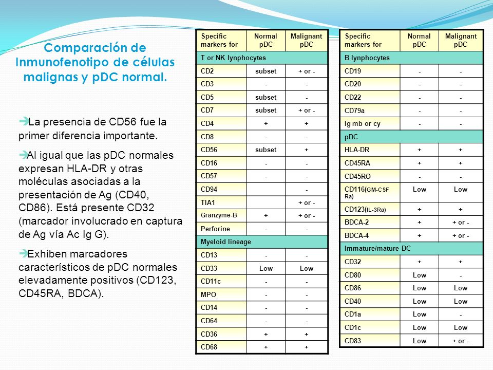 Comparación de Inmunofenotipo de células malignas y pDC normal.