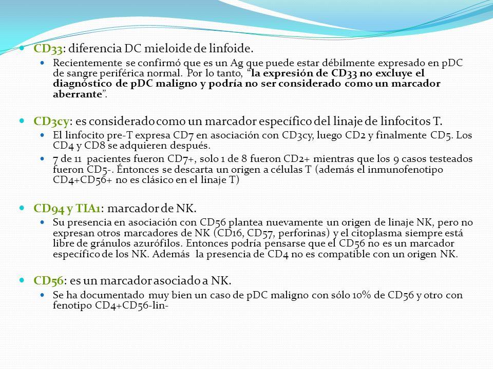 CD33: diferencia DC mieloide de linfoide.