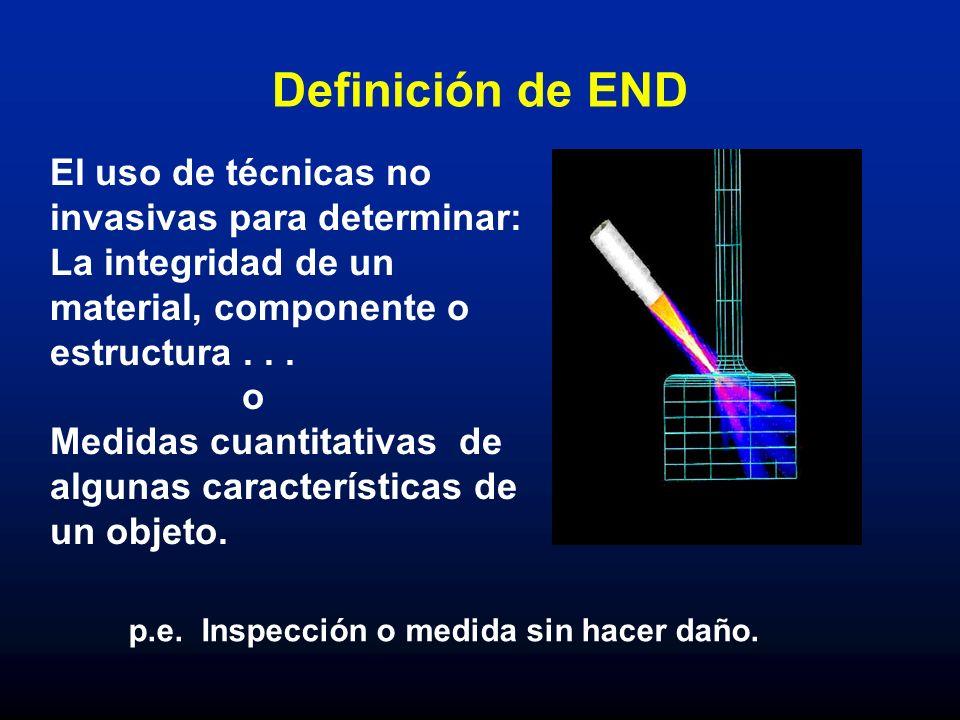 Definición de END El uso de técnicas no invasivas para determinar: La integridad de un material, componente o estructura . . .