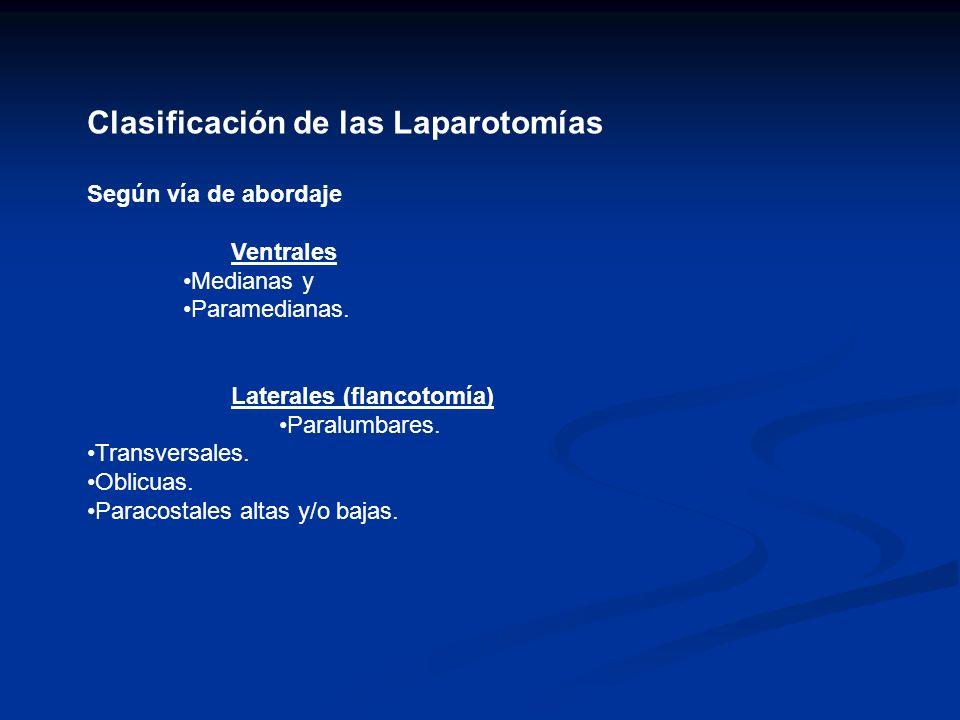Clasificación de las Laparotomías