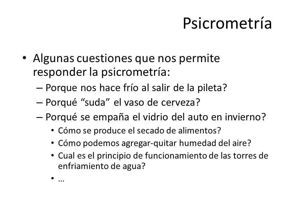 Psicrometría Algunas cuestiones que nos permite responder la psicrometría: Porque nos hace frío al salir de la pileta