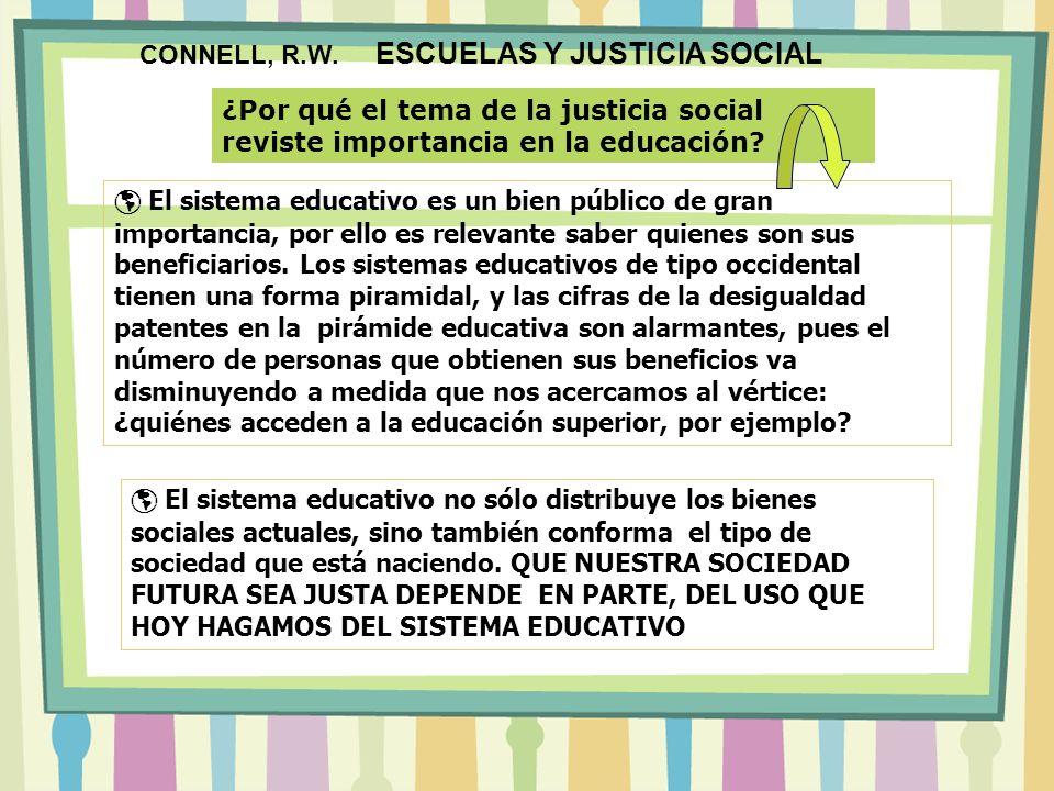 CONNELL, R.W. ESCUELAS Y JUSTICIA SOCIAL