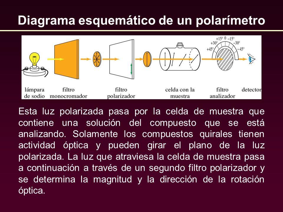 Diagrama esquemático de un polarímetro