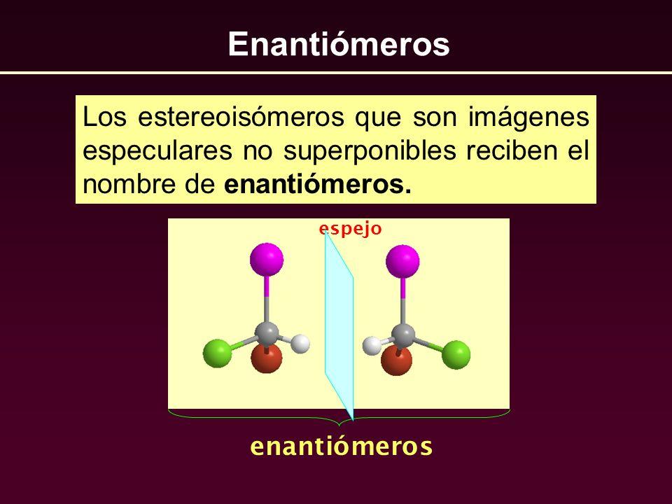 EnantiómerosLos estereoisómeros que son imágenes especulares no superponibles reciben el nombre de enantiómeros.