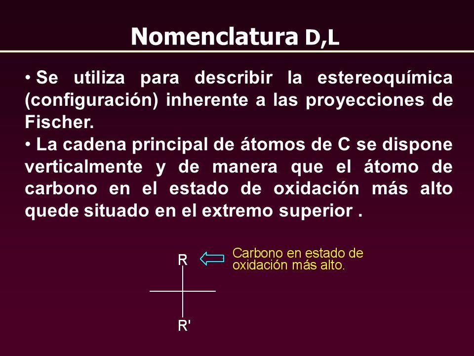 Nomenclatura D,L Se utiliza para describir la estereoquímica (configuración) inherente a las proyecciones de Fischer.