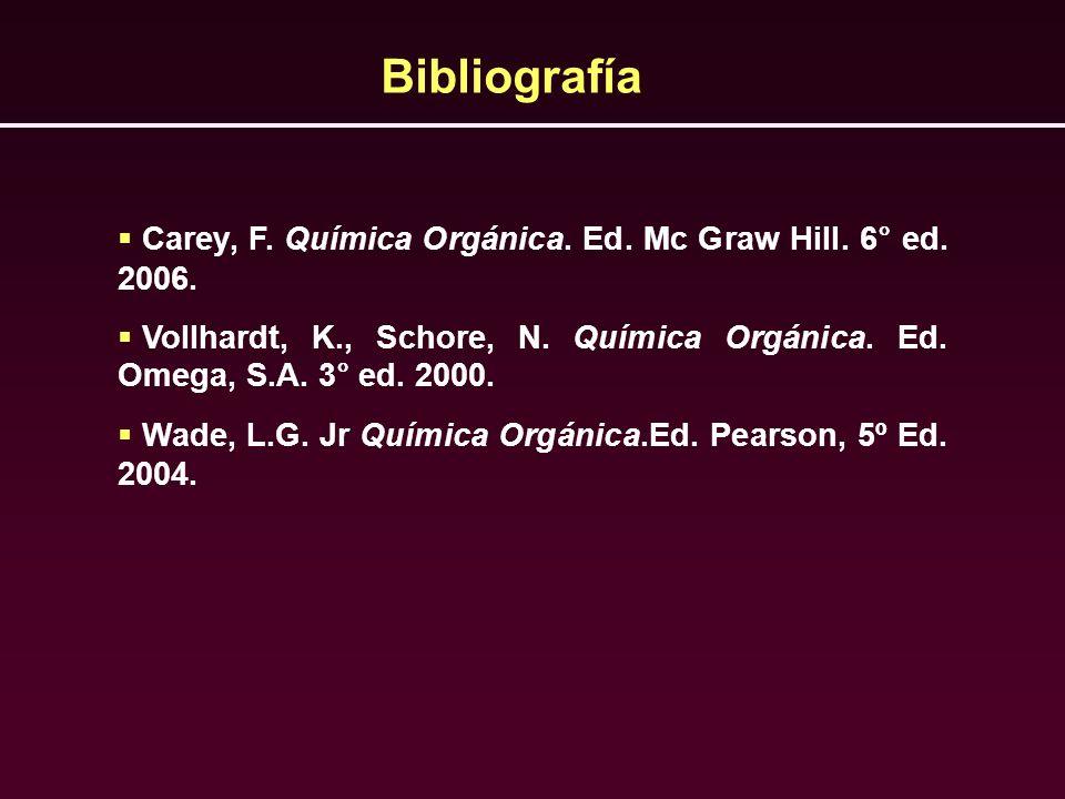 BibliografíaCarey, F. Química Orgánica. Ed. Mc Graw Hill. 6° ed. 2006. Vollhardt, K., Schore, N. Química Orgánica. Ed. Omega, S.A. 3° ed. 2000.