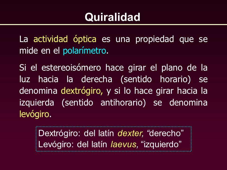 QuiralidadLa actividad óptica es una propiedad que se mide en el polarímetro.