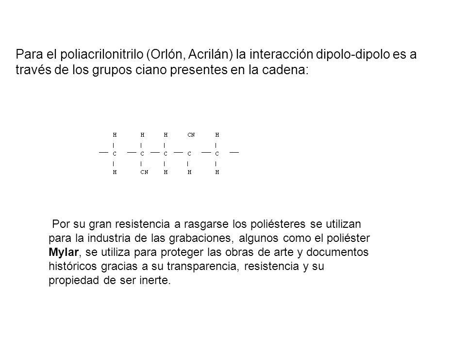 Para el poliacrilonitrilo (Orlón, Acrilán) la interacción dipolo-dipolo es a través de los grupos ciano presentes en la cadena: